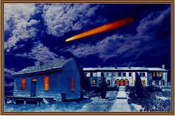 Halley's Comet over birthplace / deathplace