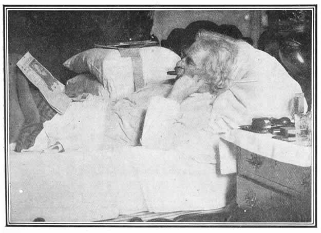 Twain in Bed reading Gorky
