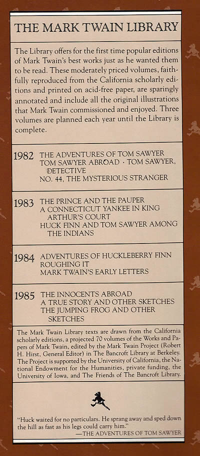 mark twain library edition dust jacket flap dust jacket flap from 1982 mark twain library edition of the adventures of tom sawyer