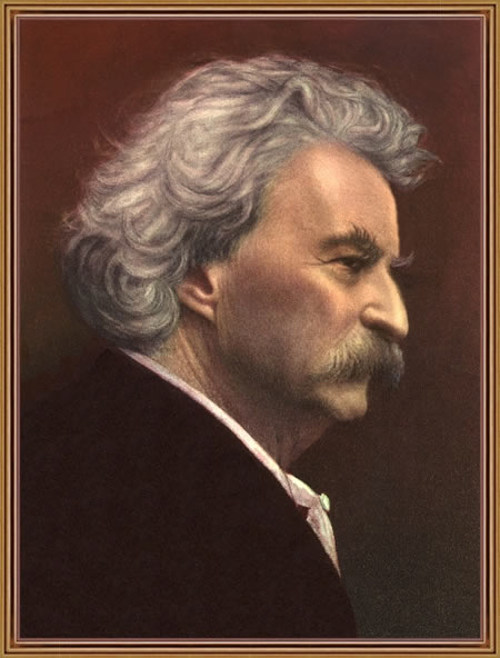 color portrait of Twain