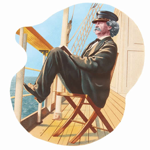 A color version of an etching of Mark Twain, based on Chase's 1896 photograph.  Image via twainquotes.com, Barbara Schmidt's site.